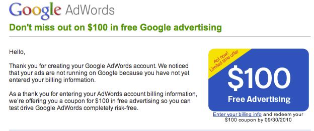 Kupon google adwords росситер и перси реклама и продвижение товаров скачать